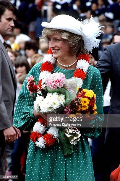 Princess Diana at Auckland Stadium New Zealand for an official welcoming ceremony 18th April 1983 The princess is wearing a dress by Donald Campbell...