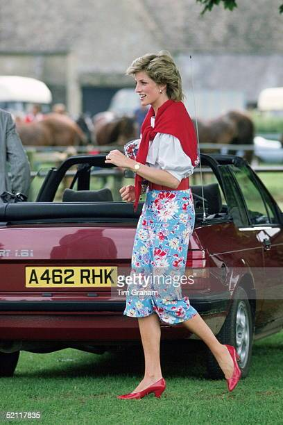 Princess Diana At Cirencester Polo Club With Her Maroon Red Ford Escort Cabriolet Car