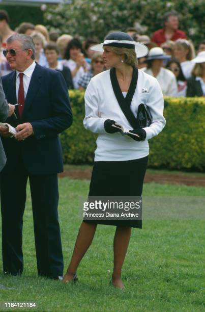 Princess Diana at Flemington race course in Melbourne Australia 5th November 1985 She is wearing a suit by Bruce Oldfield and a hat by Frederick Fox