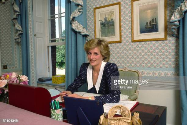 Princess Diana At Her Desk In Her Sitting Room At Home In Kensington Palace, London.