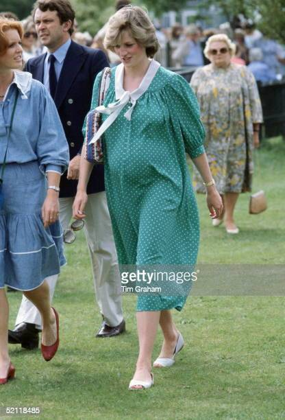 Princess Diana At Polo Just Two Weeks Before The Birth Of Her First Child Prince William Wearing A Maternity Dress Designed By Fashion Designer...