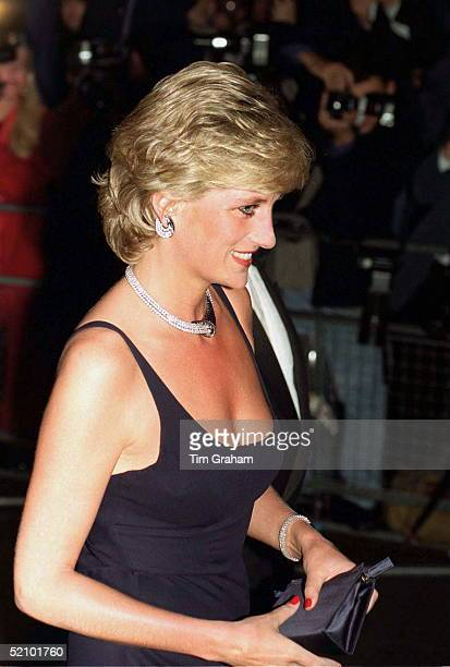 Princess Diana At Premiere Of The Film 'haunted' At The Empire Cinema Wearing A Dress Designed By Fashion Designer Catherine Walker With Jewels A...
