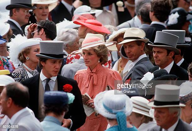 Princess Diana At Royal Ascot. Behind Her At Far Right Is Her Police Bodyguard Graham Smith In Grey Top Hat