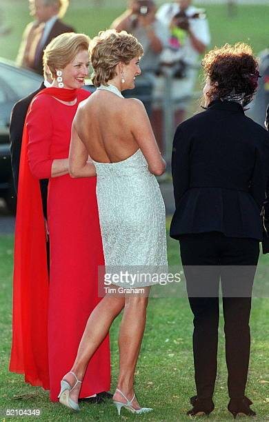 Princess Diana At Serpentine Gallery In Hyde Park, London For Dinner Hosted By Vanity Fair Magazine. She Is Wearing A Dress Designed By Fashion...