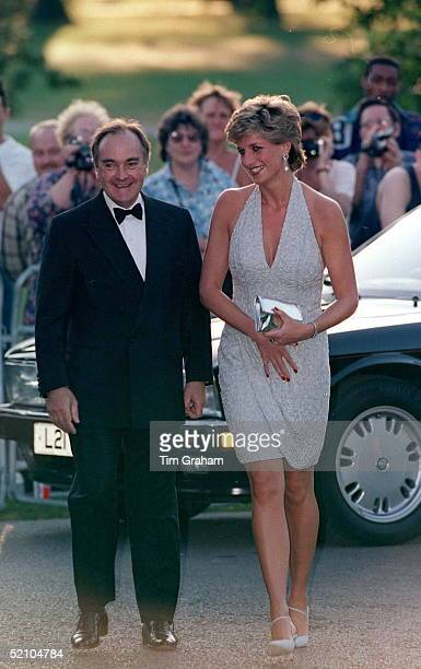 Princess Diana At Serpentine Gallery In Hyde Park London With Lord Palumbo Chairman Of Serpentine Gallery Trustees