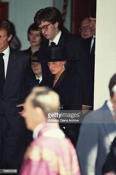 Princess Diana at the funeral of her friend British art dealer Andrew WardJackson London August 1991