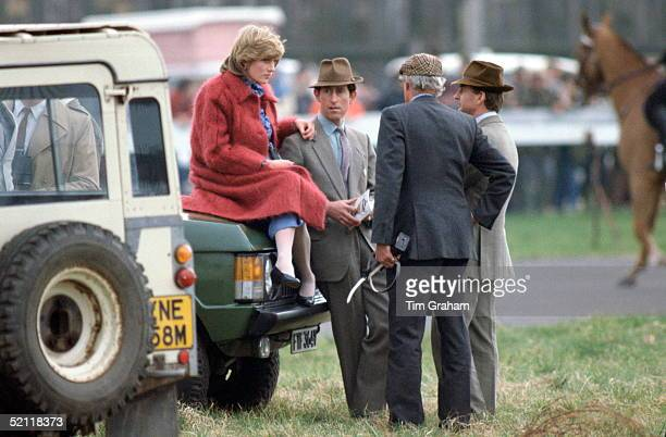 Princess Diana At The Grand National Racecourse In Aintree Resting On A Range Rover Car And Prince Charles While Pregnant With Her First Baby