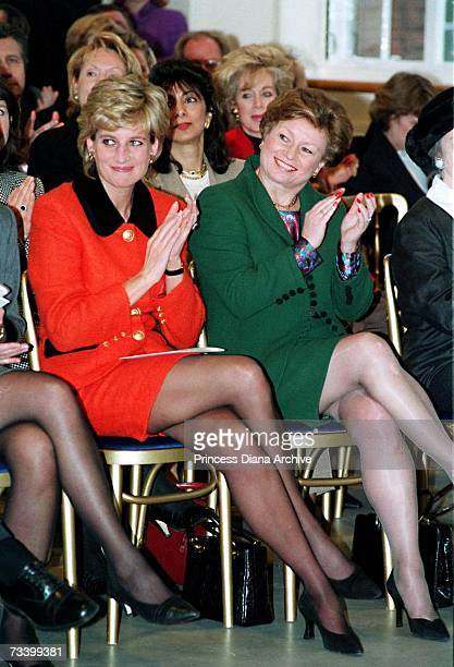 Princess Diana at the London headquarters of the English National Ballet with the company's director Kathryn Wade December 1995