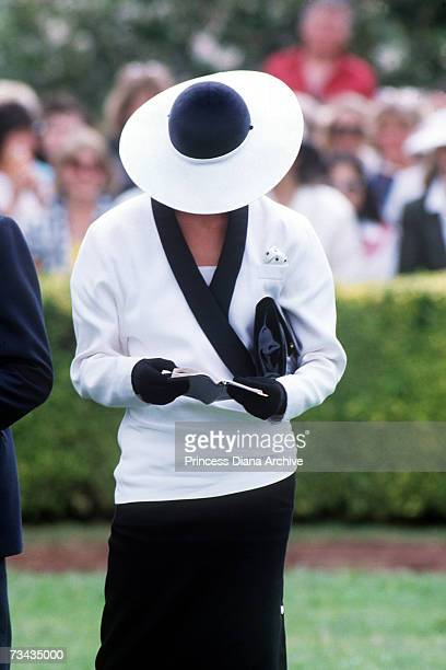 Princess Diana at the Melbourne Cup Races in Melbourne October 1985 She is wearing a suit by Bruce Oldfield and a hat by Frederick Fox