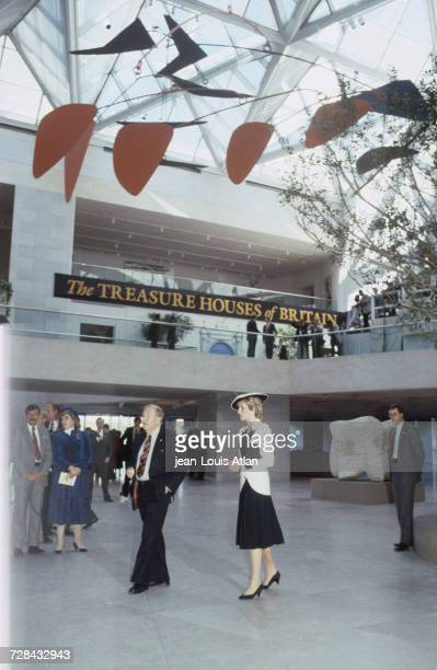 Princess Diana at the National Gallery of Art in Washington DC during an official trip to the United States 10th November 1985 Overhead is a mobile...