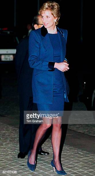 Princess Diana At The Red Cross Headquarters In Tokyo Japan The Princess Is Wearing A Blue Short Dress With A Matching Long Jacket With A Velvet...