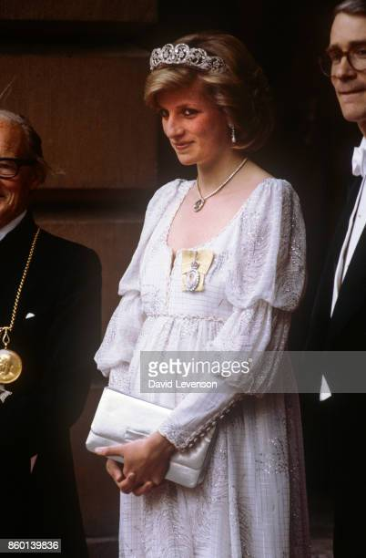 Princess Diana at the Royal Academy of Arts in Piccadilly London in May 1984 The Princess is wearing an 'empire line' evening gown by Bellville...