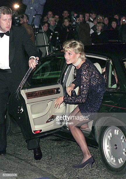 Princess Diana At The Royal Albert Hall As Patron Of The British Lung Foundation To Attend A Gala Performance Of La Boheme.