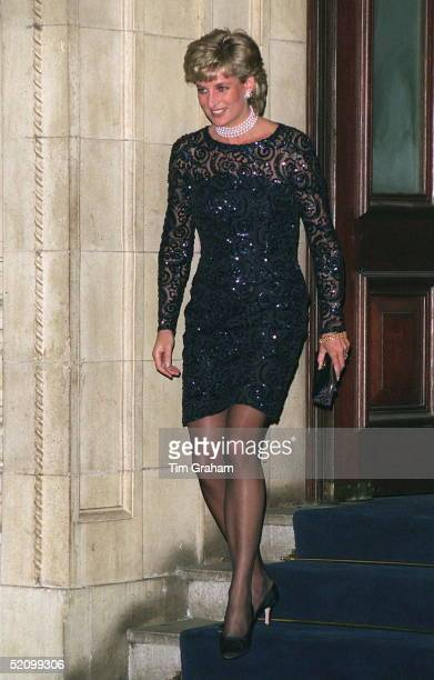 Princess Diana At The Royal Albert Hall As Patron Of The British Lung Foundation To Attend A Gala Performance Of La Boheme