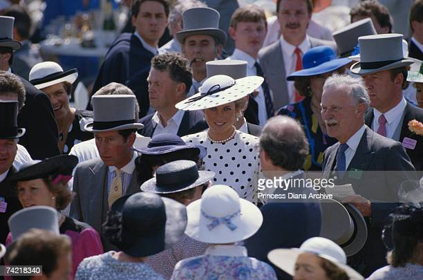 Princess Diana at the Royal Ascot race meeting in a Victor Edelstein dress and Philip Somerville hat, June 1988.