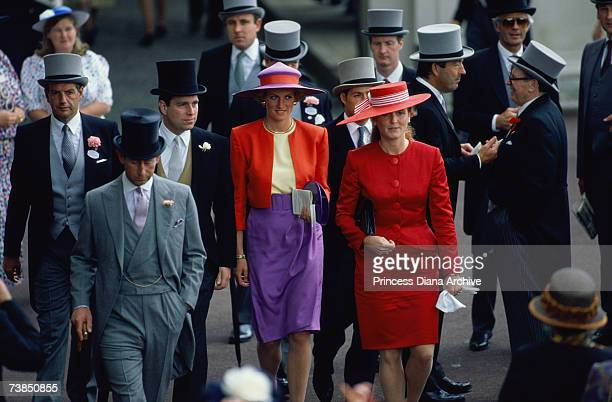 Princess Diana at The Royal Ascot race meeting June 1990 With her are Princes Charles and Andrew and Sarah Ferguson