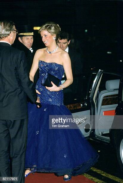 Princess Diana At The Royal Opera House In Covent Garden, London. Her Dress Is By Fashion Designer Murray Arbeid.