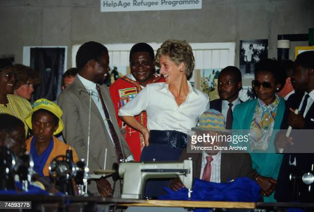 Princess Diana at the Tongogora refugee camp where she visited leprosy sufferers during her official visit to Zimbabwe 13th July 1993