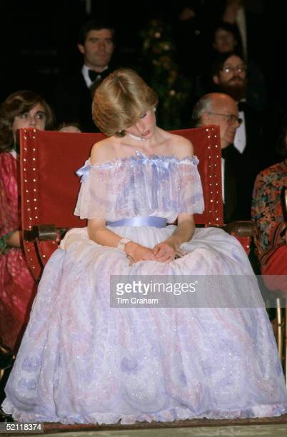 Princess Diana At The Victoria And Albert Museum For The Splendours Of The Gonzagas Exhibition Gala Wearing A Pale Blue Chiffon Evening Dress...