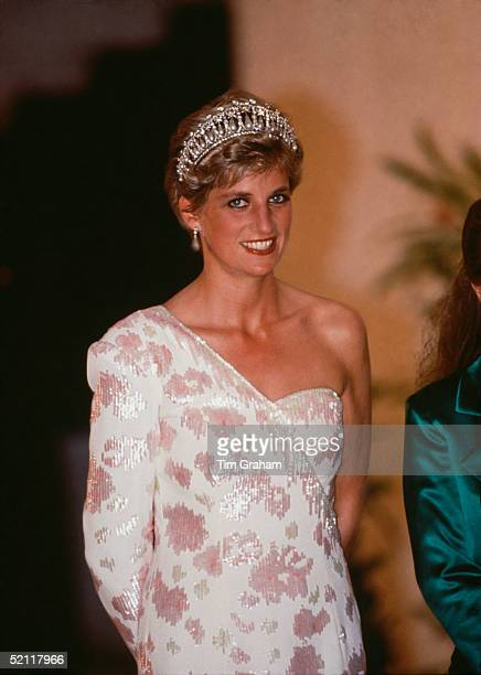 Princess Diana Attending A Banquet At The Itamarati Palace, The President Of Brazil's Official Residence. She Is Wearing An Ivory And Pink Silk Crepe...