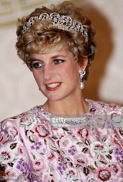 Princess Diana attending a banquet in Korea