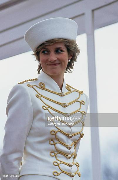 Princess Diana attending a passing out parade at Sandhurst 10th April 1987 She is wearing a military style suit by Catherine Walker and hat by Graham...