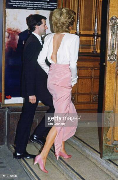 Princess Diana Attending A Performance Of 'swan Lake' By The Bolshoi Ballet At The London Coliseum Wearing A Dress Designed By Fashion Designer...