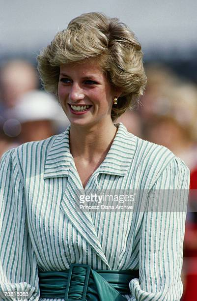 Princess Diana attending a polo match for the Birthright charity at the Guard's Polo Club, Windsor, June 1985.