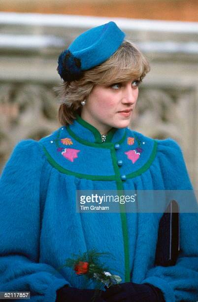 Princess Diana Attending A Service At St George's Chapel Windsor On Christmas Day In A Warm Coat And Pillbox Hat