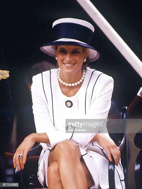 Princess Diana Attending Vj Day Commemorative Events Wearing A Suit Designed By Fashion Designer Tomas Starzewski