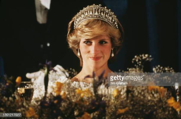 Princess Diana attends a banquet in Nova Scotia during the royal tour of Canada, 15th June 1983. She is wearing the Queen Mary tiara.