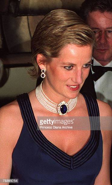 Princess Diana attends the Fashion Awards at the Lincoln Center New York during a twoday visit to the city January 1995 She is wearing a Catherine...