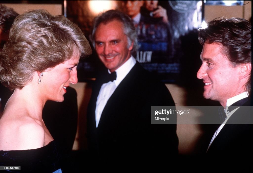 Princess Diana attends the premiere of the film Wall Street. Pictured here meeting American actor Michael Douglas, 27th April 1988.