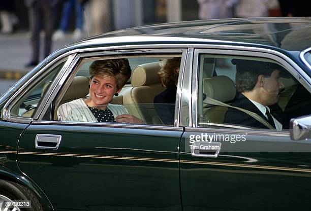 Princess Diana being chauffeured to an appointment in London