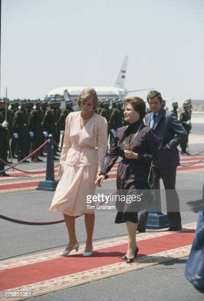 Princess Diana bids farewell to Jehan Sadat wife of the Egyptian president before she and Prince Charles fly back to Britain from Hurghada...
