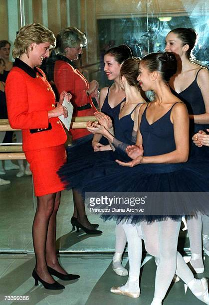 Princess Diana chats with ballerinas at the London headquarters of the English National Ballet December 1995