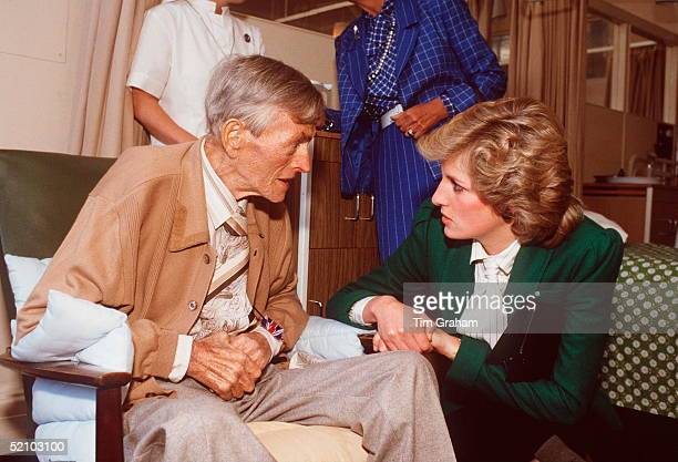 Princess Diana Chatting To A Patient At St Joseph's Hospice, Hackney, London.