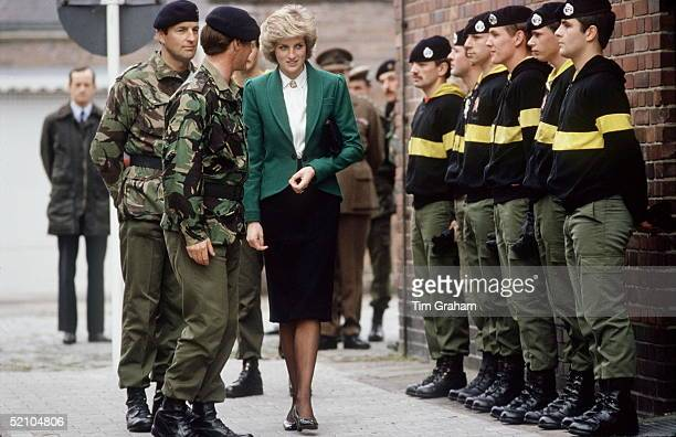Princess Diana Colonelinchief Of The Royal Hampshire Regiment Reviewing The Troops During Her Visit To The Regiment Whilst They Were Serving In West...