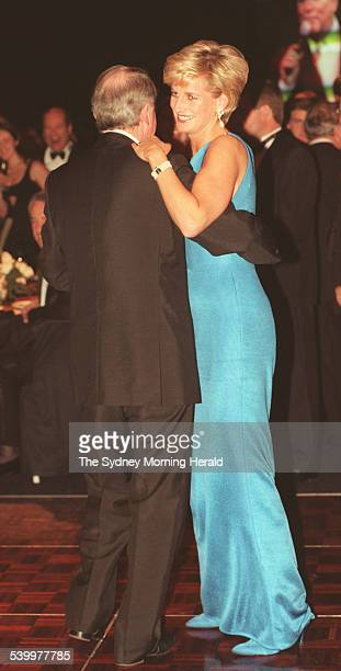 Princess Diana dances with the former NSW Premier Neville Wran at the Victor Chang Ball 31 October 1996 SMH Picture by ROBERT PEARCE