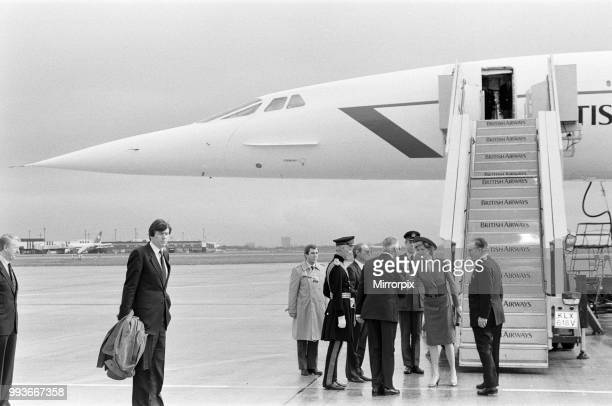 Princess Diana departing on Concorde from Heathrow to Vienna, 14th April 1986.