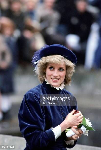 Princess Diana Dressed In A Velvet Outfit During A Visit To Nottingham