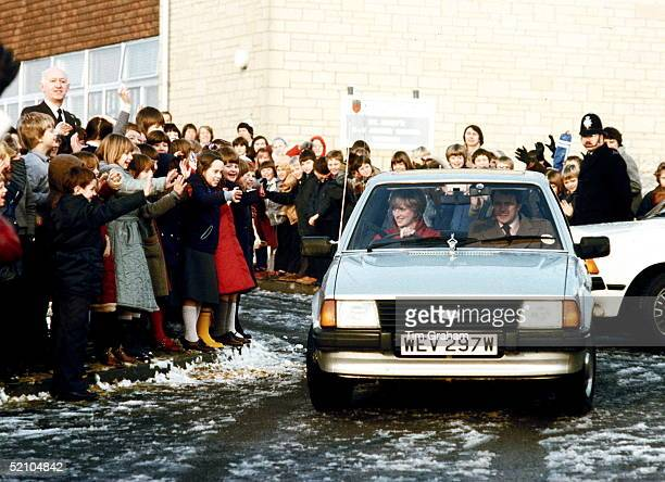 Princess Diana Driving Her Ford Escort Car On Leaving St Mary's Primary School In Tetbury. Bodyguard Graham Smith In The Passenger Seat