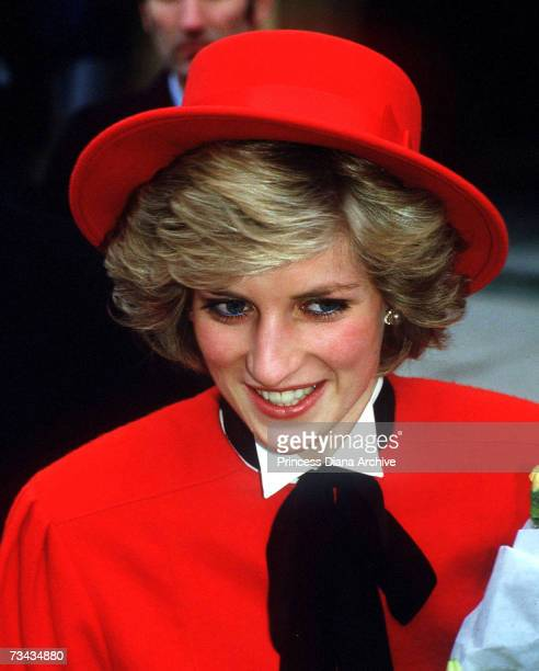 Princess Diana during a visit to Cirencester February 1985