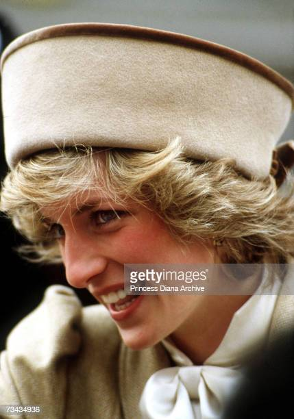 Princess Diana during a visit to Coventry October 1985 She is wearing a camel coat by Caroline Charles with a matching cossack hat