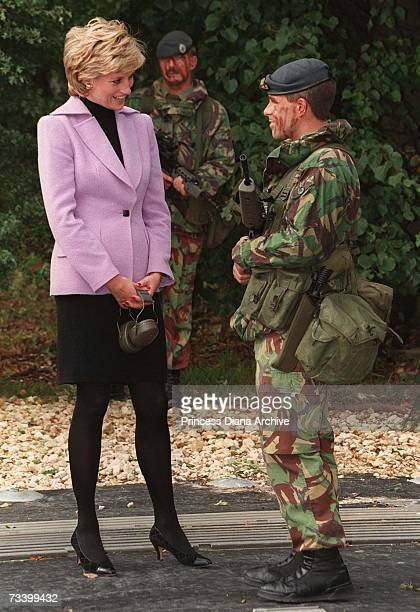 Princess Diana during a visit to RAF Wittering Lincolnshire September 1995