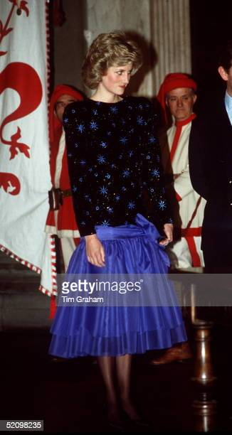 Princess Diana During Her Official Tour Offlorence In Italy Wearing A Blue And Black Kneelength Evening Dress Designed By Jacques Azagury The Dress...