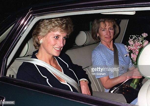 Princess Diana Fastening Her Seat Belt As She Gets Into Her Car With Her Ladyinwaiting Viscountess Sarah Jane Campden After Attending A Charity Lunch...