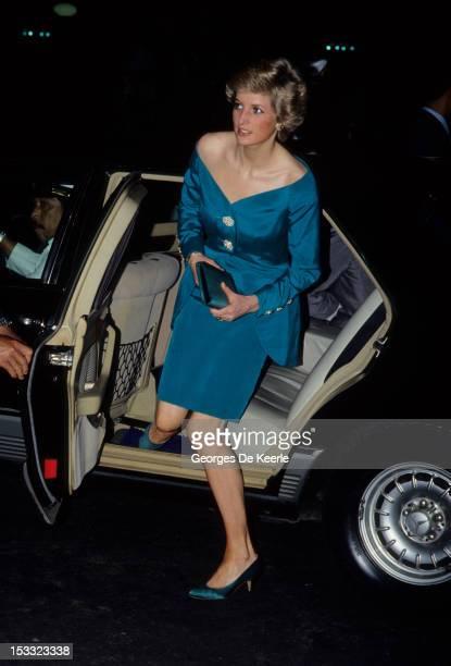 Princess Diana getting out of a car circa 1984