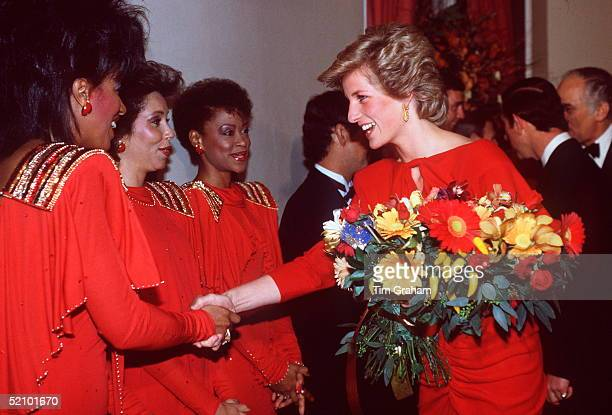 Princess Diana Greeting Singing Group The 3 Degrees At The Birthright Ball Albert Hall London