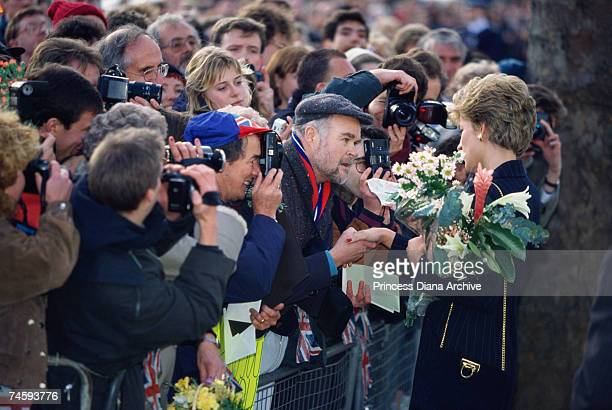 Princess Diana greets crowds outside the Mall Galleries London on her last public engagement 16th December 1993
